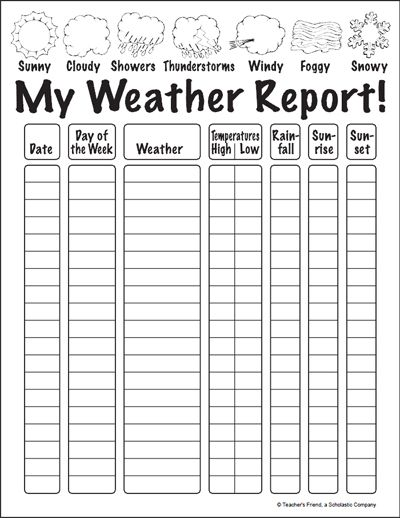 My weather report also printable chart watch the for  week and fill in rh pinterest
