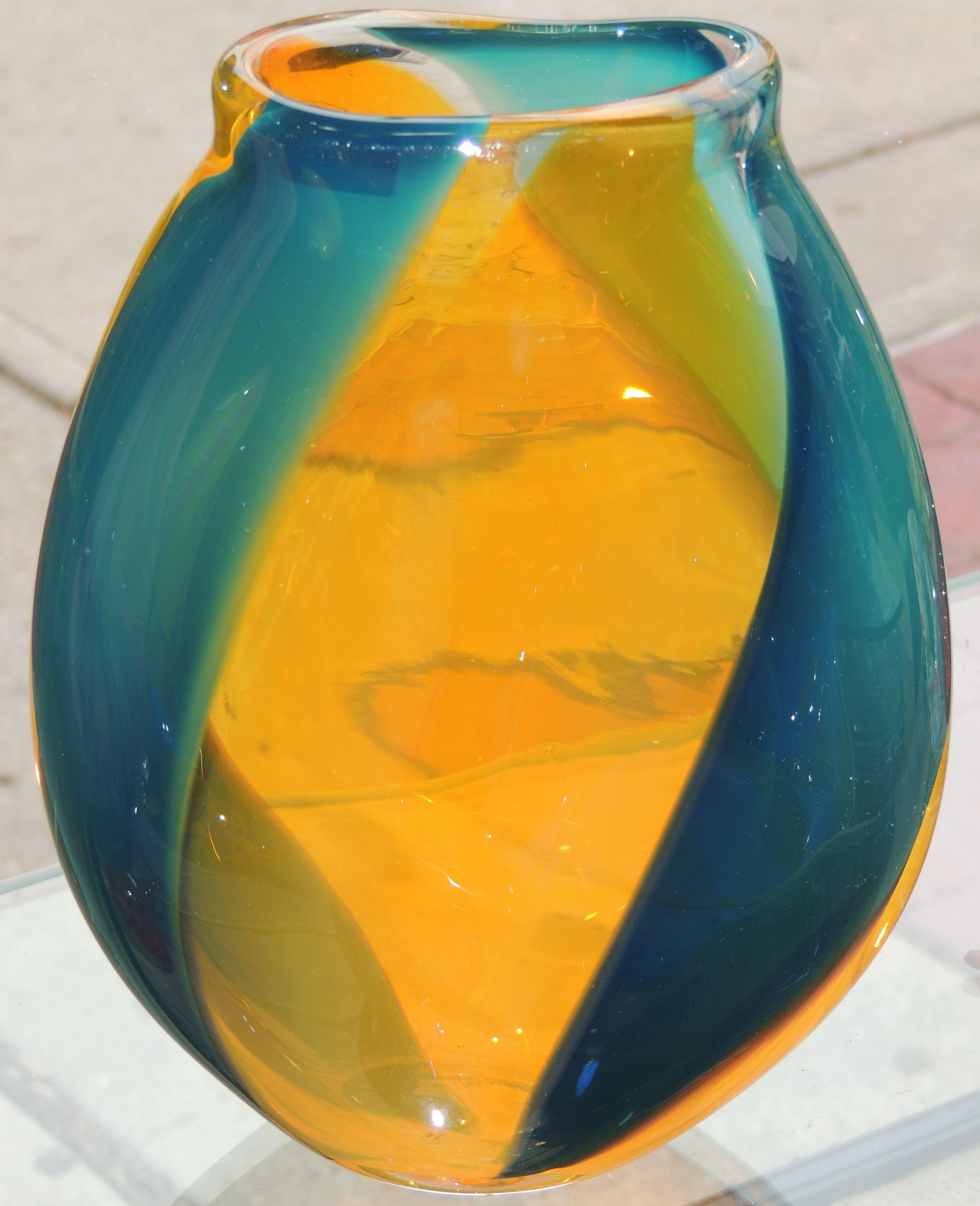 Saffron and Oceana by glass artist Rhonda Baker