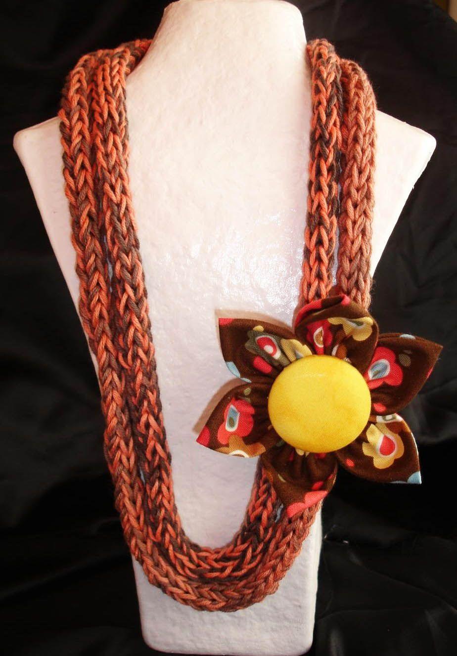 Collar en algodón egipcio, trabajado a crochet formando cordón, en ...