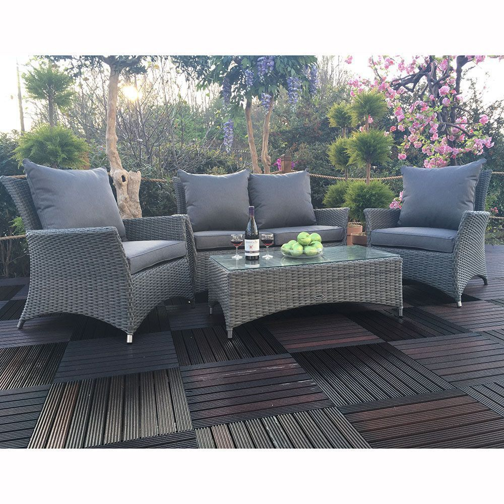 Oasis 4 Seater Garden Lounging Table And Chairs Set: 4 Seater Outdoor Lounge Set Rattan Aluminum Frame Grey