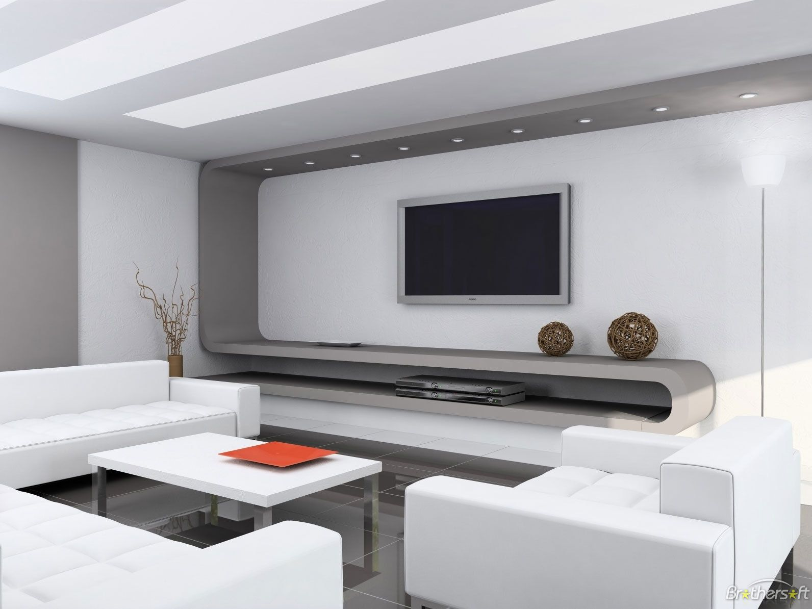 Modern Living Room Design With Lcd Unit