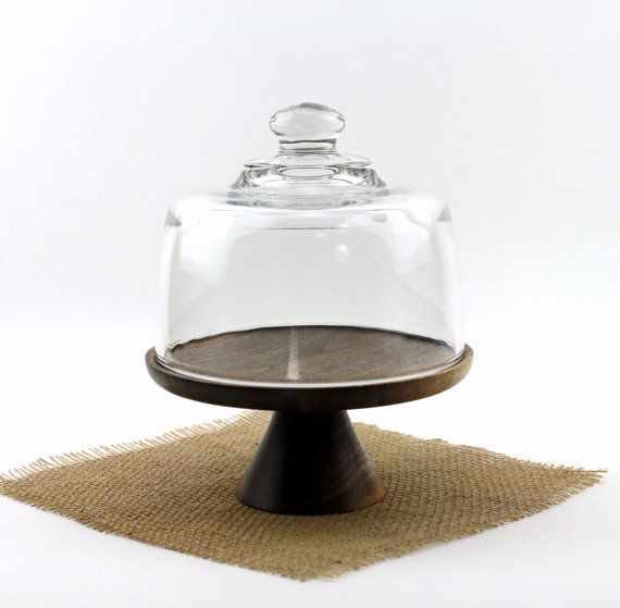 Walnut Cake Stand With Glass Dome Wooden Cake Plate Pedestal Cake