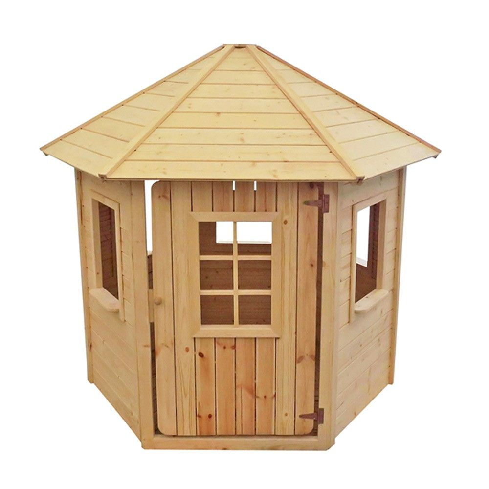 Kiosque En Bois Hexagonal maisonnette en bois hexagonale de type kiosque. jolie cabane