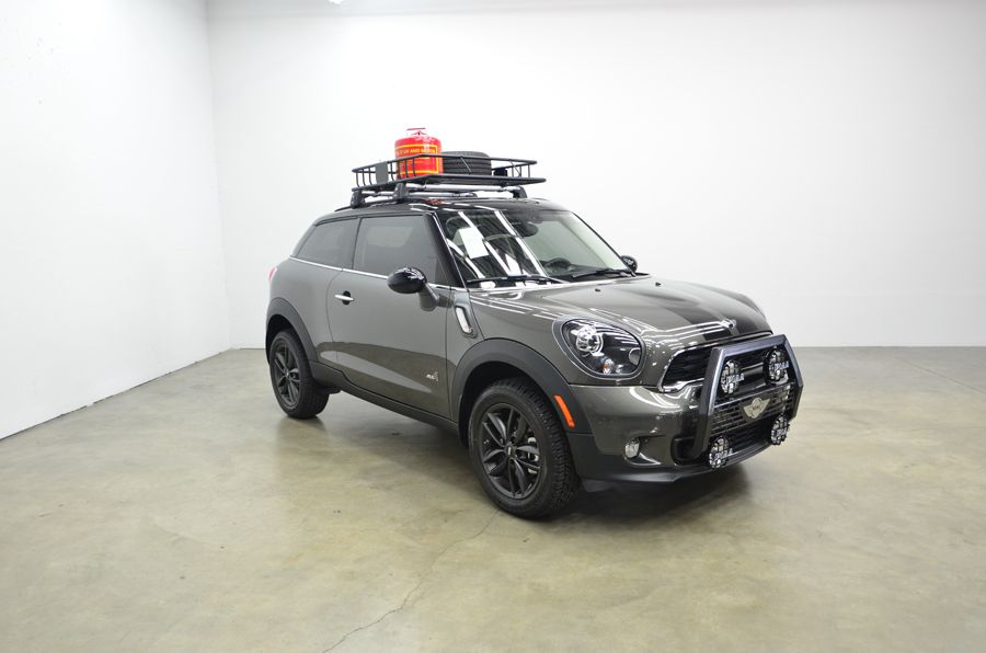 A custom Mini Cooper S Paceman grill guard and lighting