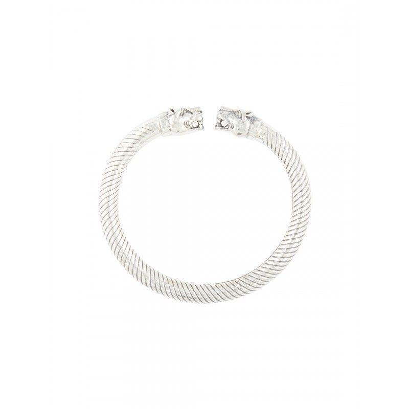 traditional design sterling silver bangle bracelet tiger heads kada
