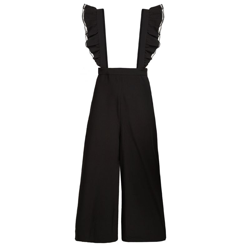 85e3698db467 HDY Haoduoyi 2017 Autumn Fashion Womens Solid Black Ruffle Patchwork Casual Jumpsuit  Sleeveless Wide Leg Rompers Overalls-in Jumpsuits from Women s Clothing ...