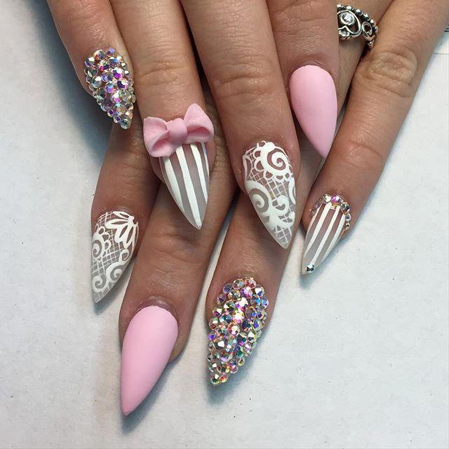 pretty pink bow and rhinestones