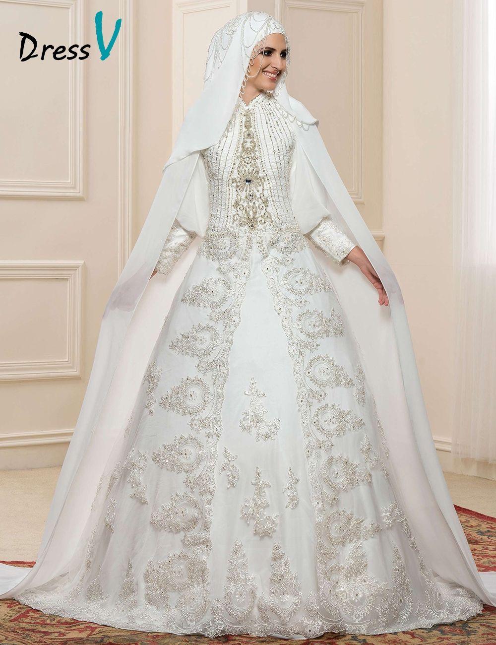 Gorgeous Lace Applique Long Sleeve Muslim Wedding Dresses Hijab ...