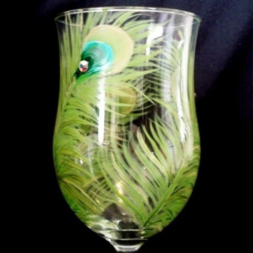 Hand Painted Wedding Glass Peacock Feathers and Swarovsky Crystals | LynetteSadowyStudios - Housewares on ArtFire