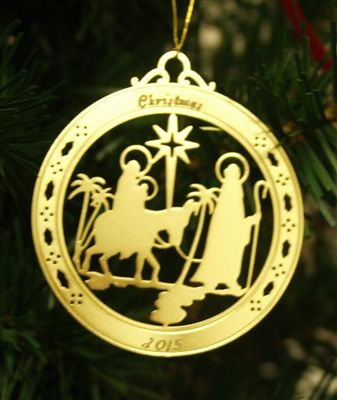 Personalized Nativity High Polished Brass Custom Christmas Ornament #christmasornaments #personalizedchristmasornaments