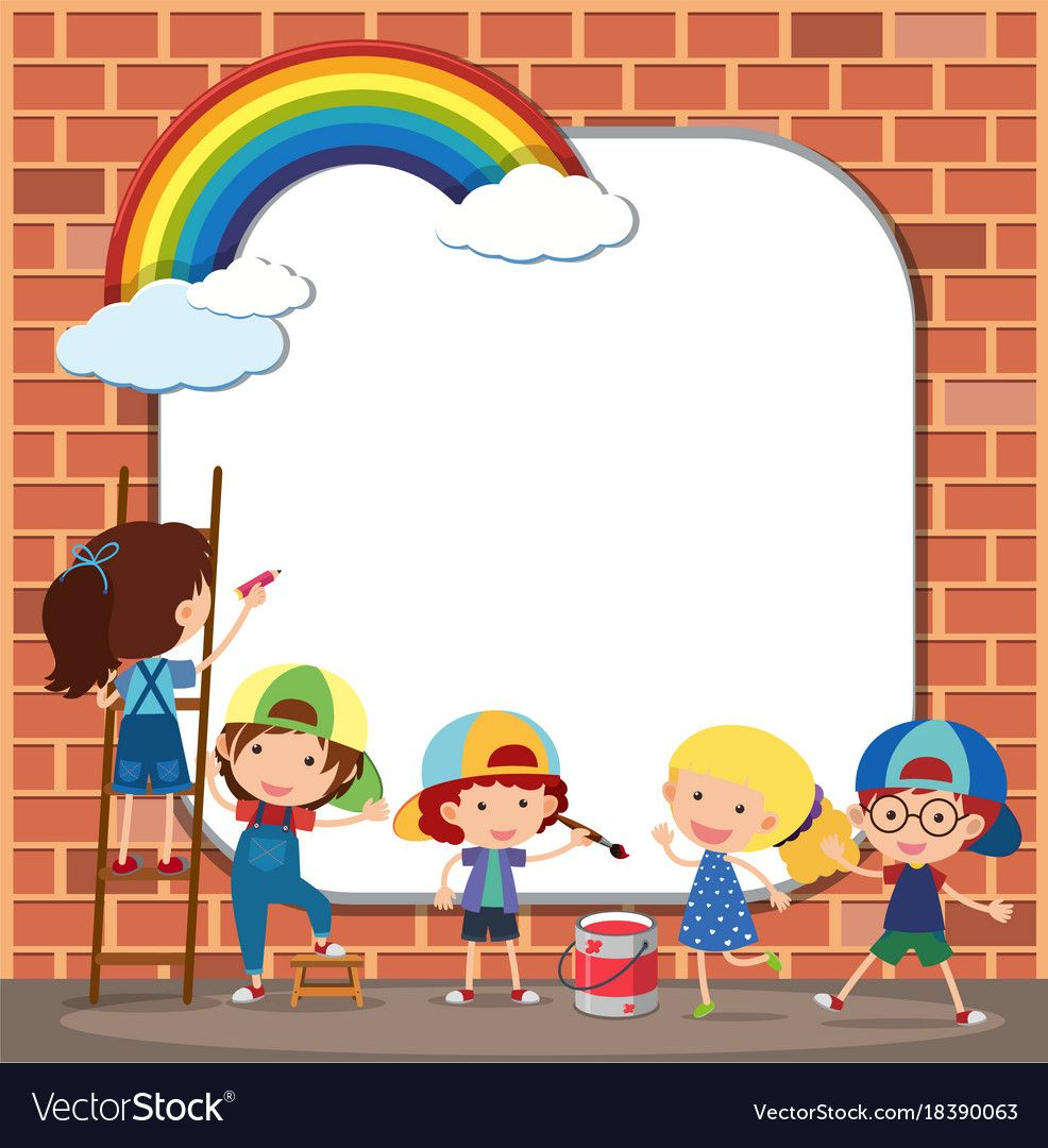 Border Template With Kids Drawing On Brickwall Vector Image On Vectorstock Drawing For Kids Border Templates Kids Background