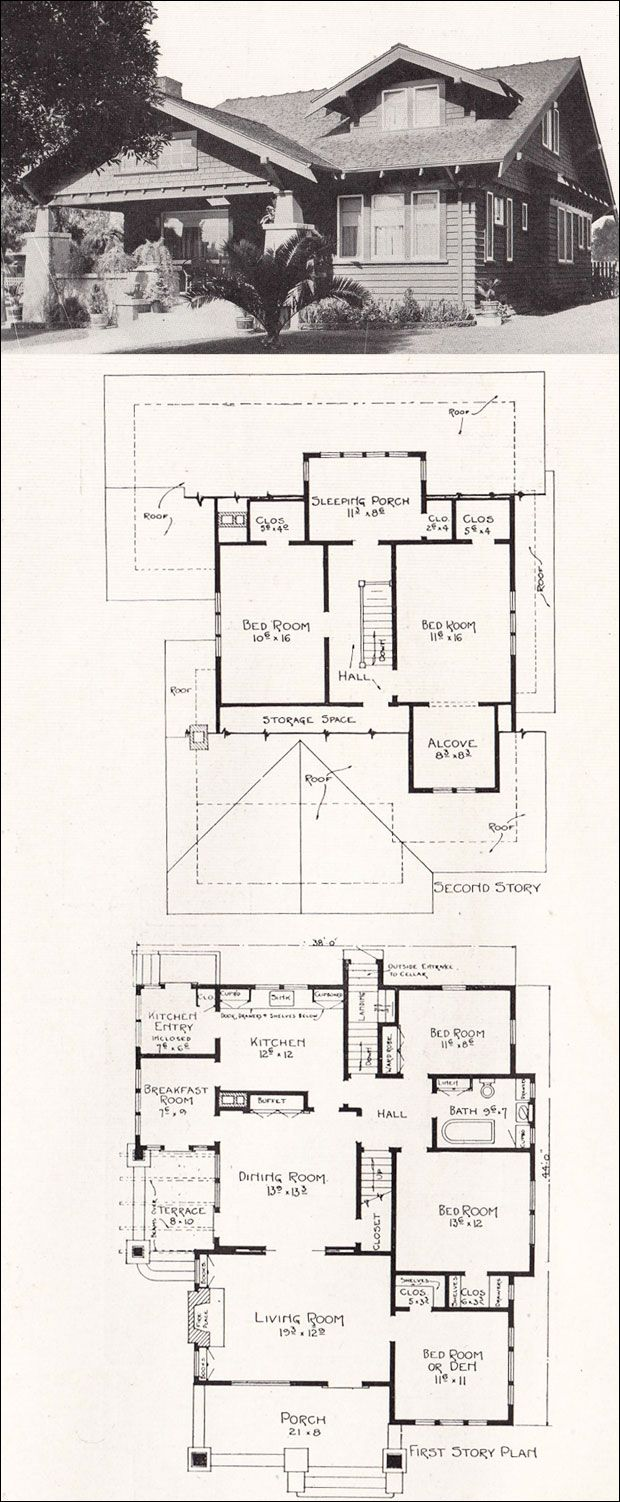 Craftsman Plan No R 840 C 1918 Representative California Homes By E W Stillwell While Some Bung Vintage House Plans Craftsman House Plans Craftsman House