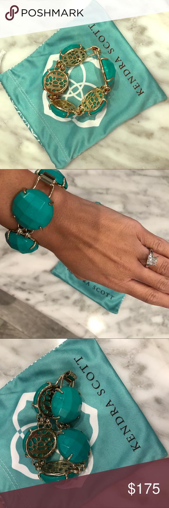 Kendra scott k gold plated green stone bracelet green stone