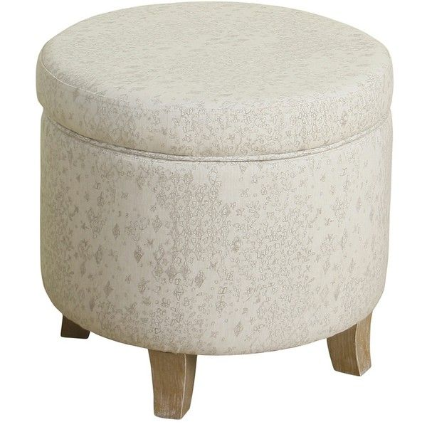 Round Ivory Storage Ottoman ($100) ❤ Liked On Polyvore Featuring Home,  Furniture,