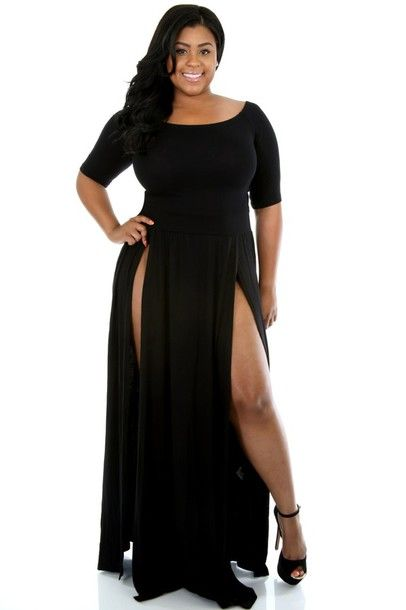black lace dress plus size women clothing sheer long sleeve floor ...