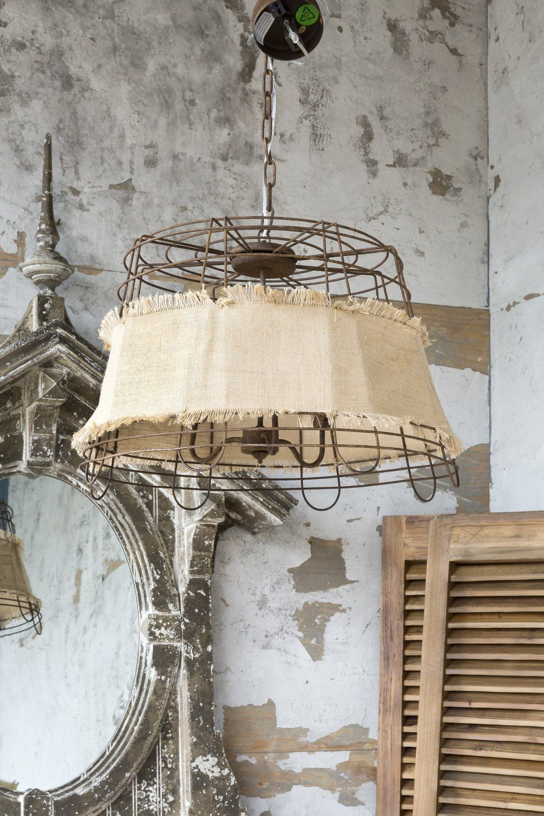 Wire Basket And Burlap Light Fixture In 2019 Farmhouse