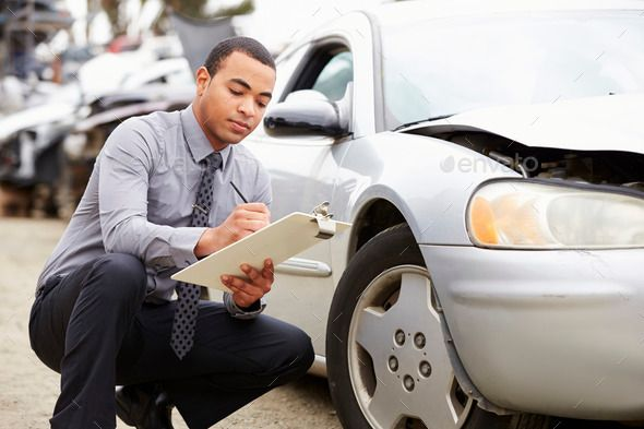 Loss Adjuster Inspecting Car Involved In Accident Car Car Insurance Car Accident Lawyer