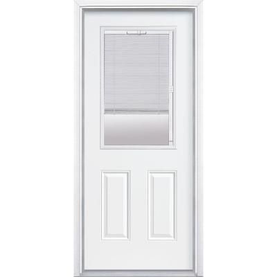 Masonite 36 In X 80 In Premium Clear 1 2 Lite Mini Blind Right Hand Inswing Primed Steel Prehung Front Door With Brickmold 05200 The Home Depot Mini Blinds Steel Entry Doors Fiberglass Entry Doors