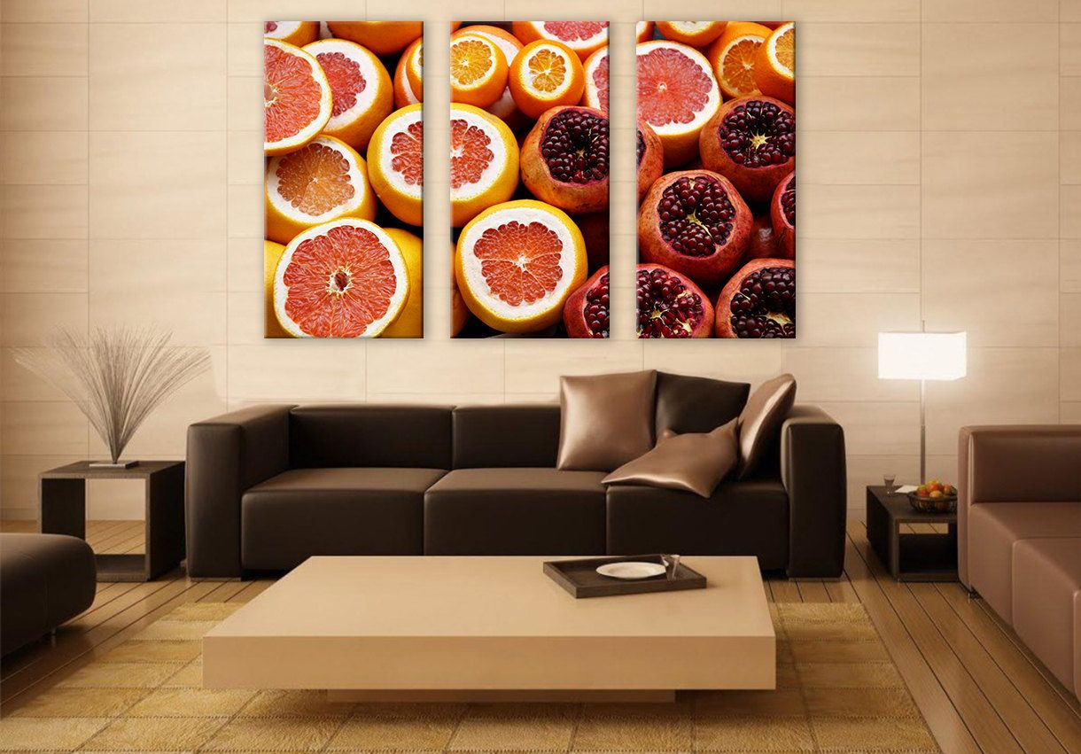 Fresh Citrus Canvas Art Kitchen 3 Panels Print Ocean Art Wall Deco Fine Art Photography Repro Print for Home and Office Wall Decoration by ZellartCo TAGS healthy food fine art fruits citrus pomegranade grapefruit kitchen wall hangings lifestyle canvas print photography triptych