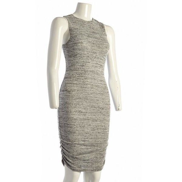 Heathered Ruched Midi Dress Jr. (€11) ❤ liked on Polyvore featuring dresses, white knit dress, white midi dress, ruching dress, gathered dress and fitted ruched dress