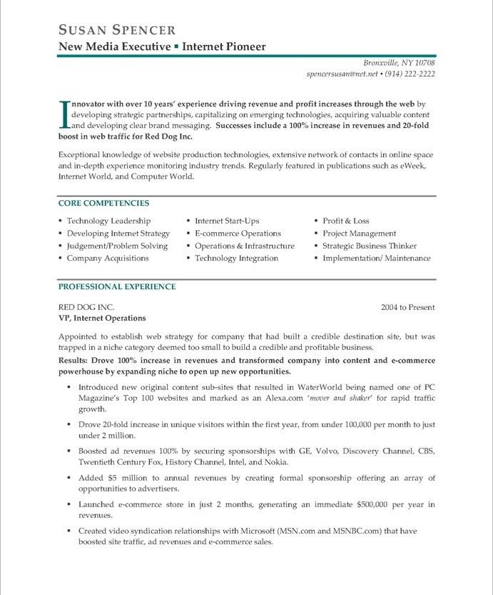 New Media ExecutivePage  Executive Resume Samples