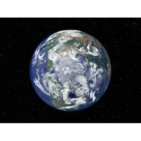 Fully lit Earth centered on the North Pole Canvas Art - Stocktrek Images (32 x 24)
