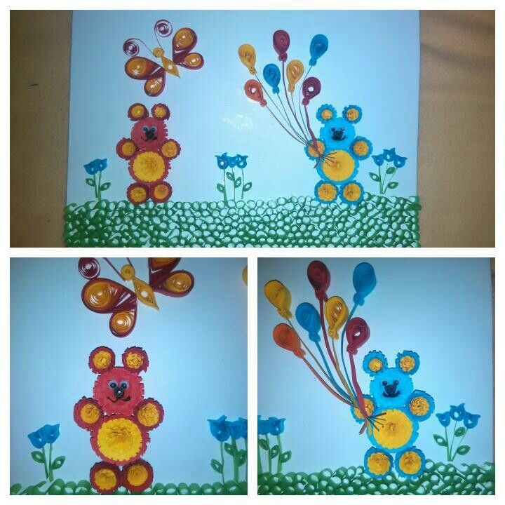 Quilling pictures two bears $15.00