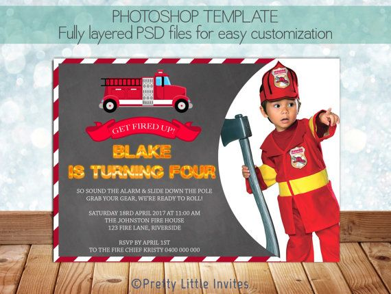 Firefighter Fireman Birthday Invitation Template Photoshop – Firefighter Birthday Invitations