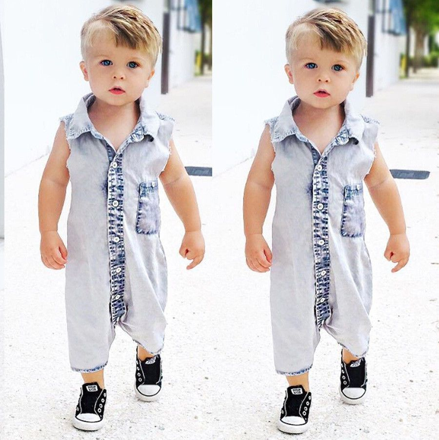 a5a5a0bcad7 New Summer 2017 Boys Kids Denim Rompers Newborn Baby Sleeveless Jeans Romper  Infant Boy Children Jumpsuit Clothes Outfit-in Rompers from Mother   Kids on  ...