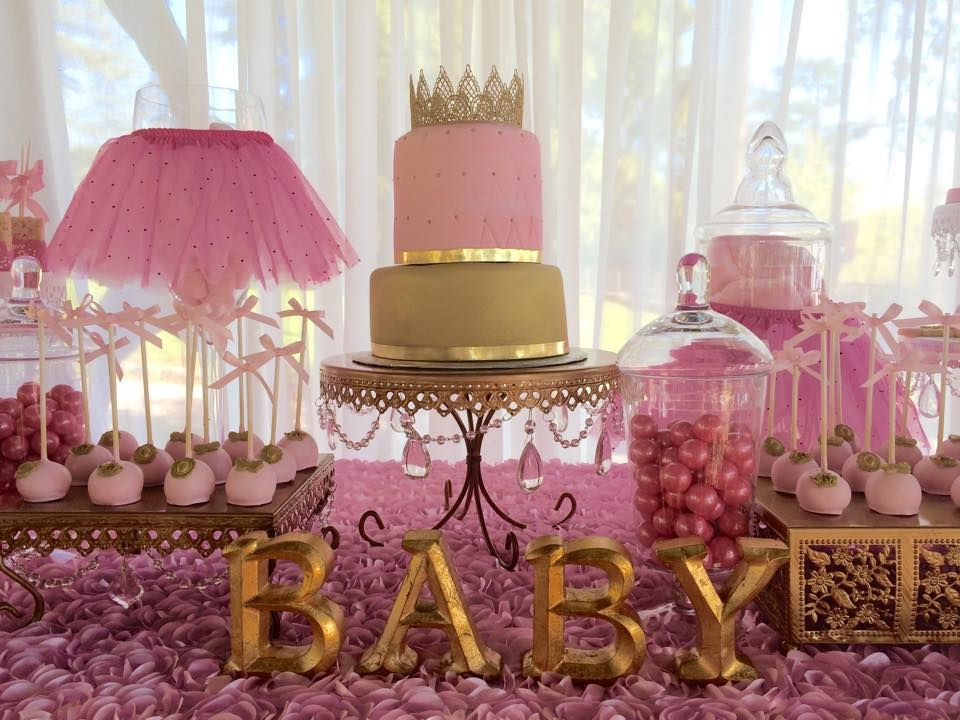 50 lindas decora es para ch de beb menina gold baby for Baby shower decoration pics