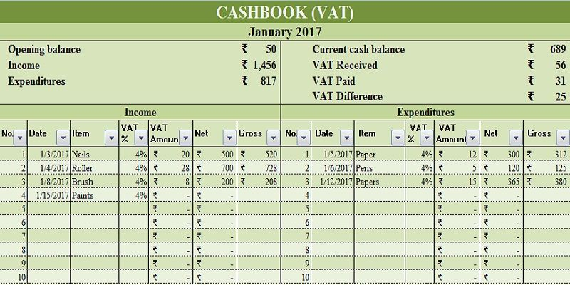 Download Cash Book With Vat Excel Template Home Improvement