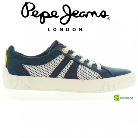 Zapatillas deportivas para niños tipo bamba en piel y textil tonos marino de Pepe Jeans. Un básico para la primavera verano con el estilo de la marca desde 1973 hasta hoy  Del 35 al 39
