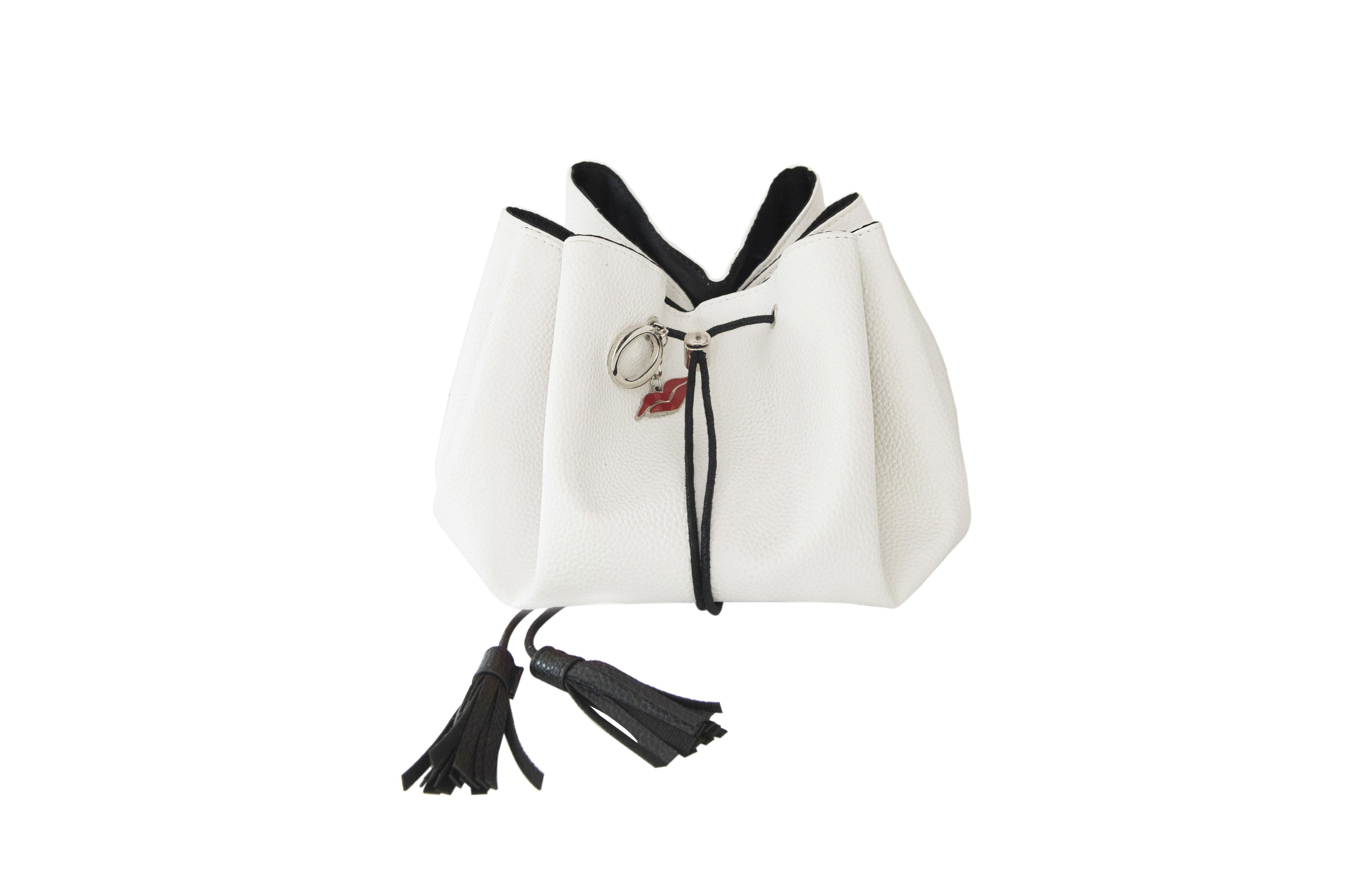 Lay Flat Leather Look Drawstring Makeup Bag Porcelain