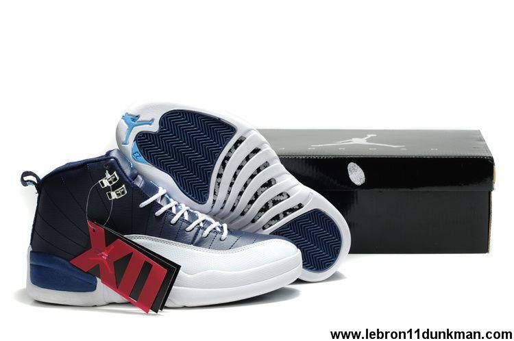on sale 56281 60213 Low Price New Air Jordan 12 (XII) Retro Obsidian White-French Blue-University  Blue Fashion Shoes Store