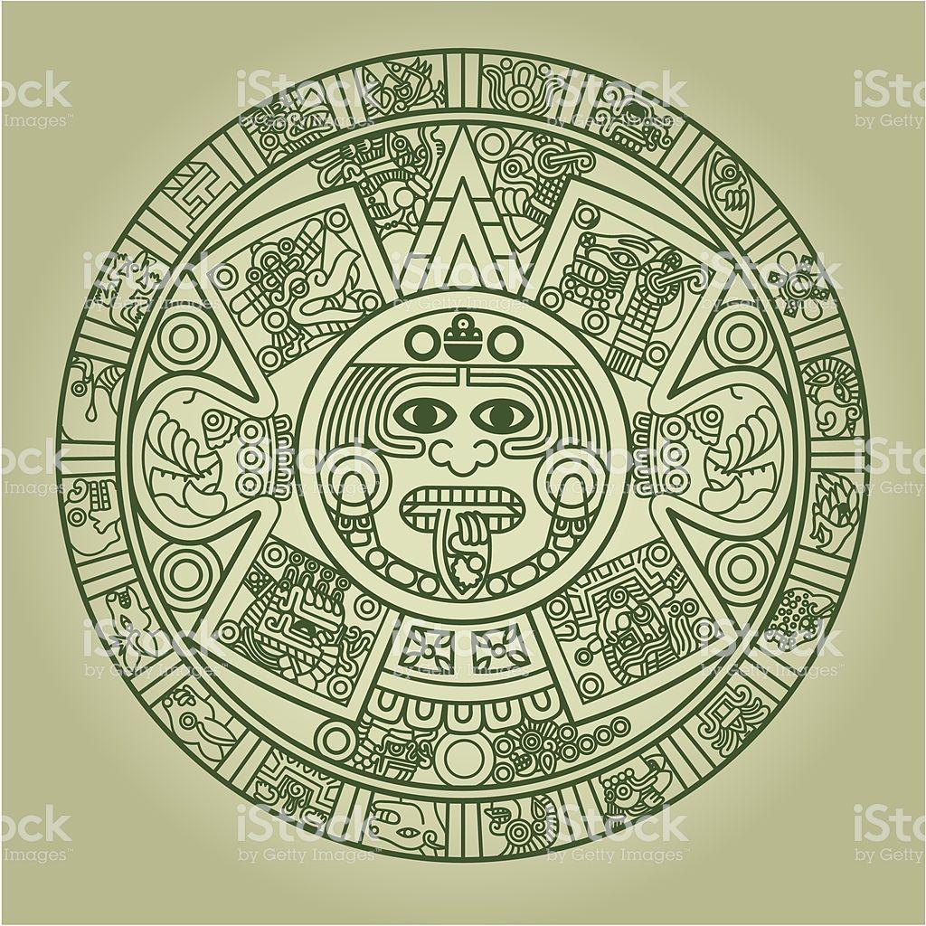 Stylized Aztec Calendar In Green Color Vector Illustration Aztec Tattoo Designs Aztec Calendar Calendar Vector