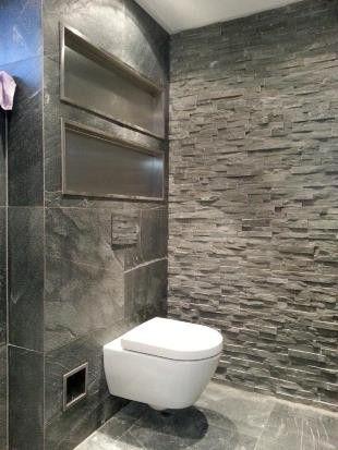 Een stoere badkamer met hout, stenen, RVS kranen stellen wij graag ...
