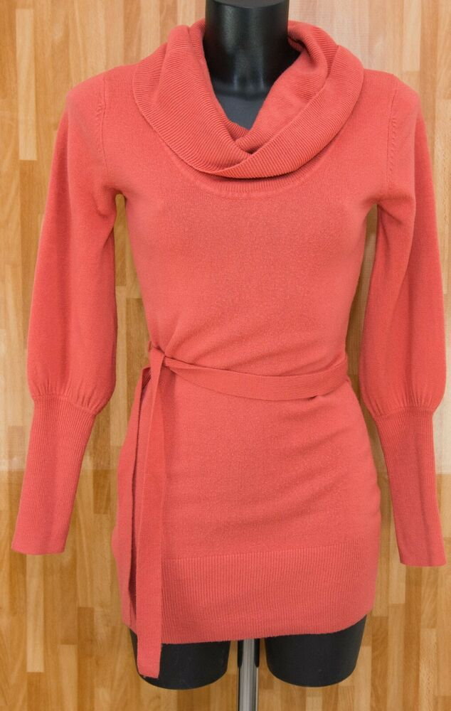 ab0f6013c3a1 Papaya Coral Fitted Stretchy Cowl Neck Jumper Dress Size 8 UK #fashion # clothing #