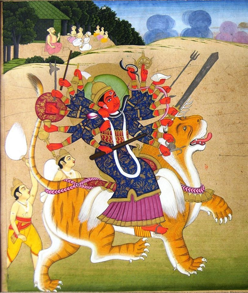 Maa Durga as Mahisasurmardini of Alwar style, late 18th century. c/o Prof Daljeet Kaur