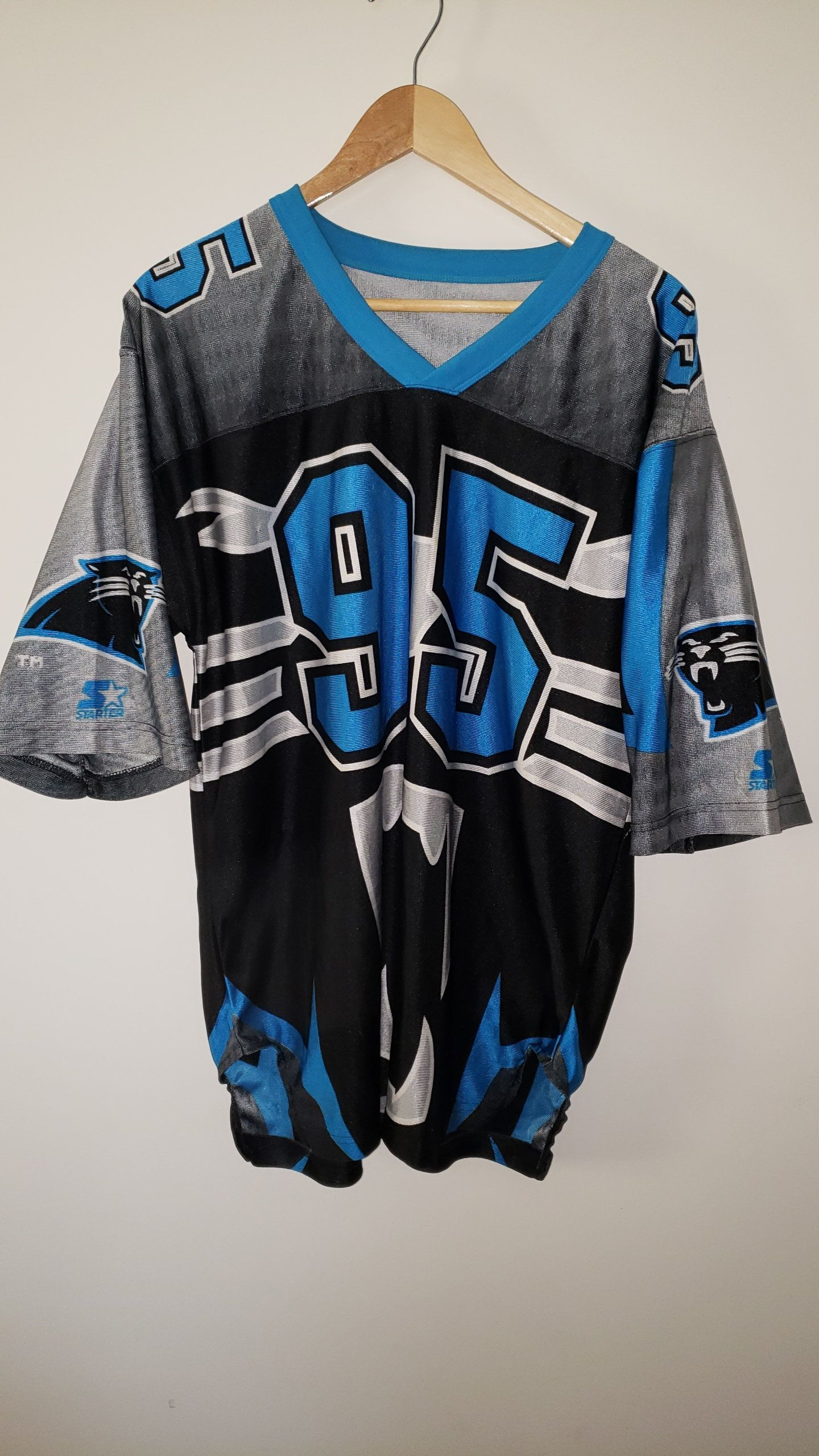 b5e2647fd Vintage 90 s NFL Carolina Panthers  95 All Over Print Starter Jersey - Sixe  XL by RackRaidersVtg on Etsy
