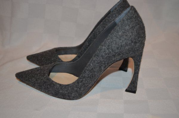 9f7870176b4 37.5-7 Christian Dior Gray Wool Cover Songe Pointed Toe Pumps 4