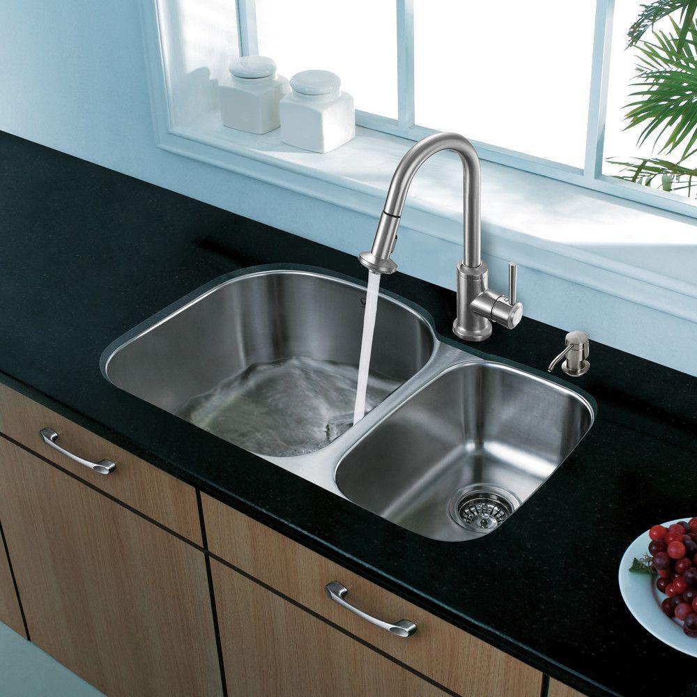 "Platinum 31.5"" x 20.5"" Undermount Stainless Steel Kitchen Sink with Faucet"