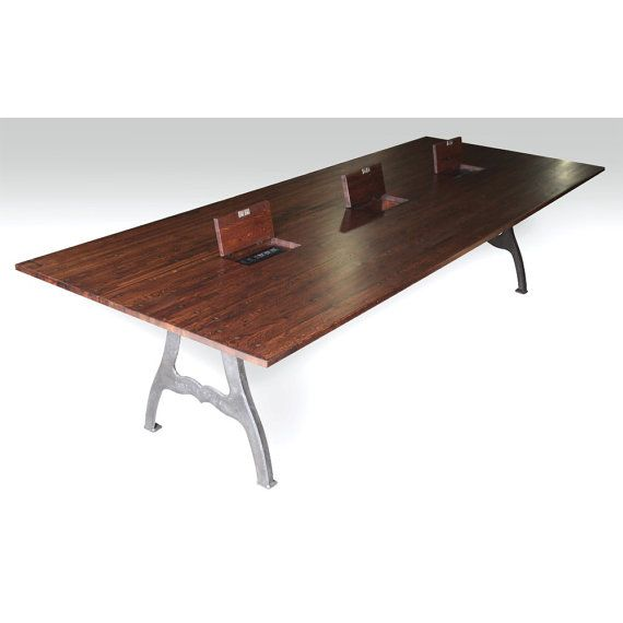 10 Ft Industrial Conference Table With 3 Outlet Boxes Industrial Conference Table Conference Table Table