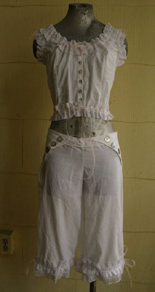 Cotton Eyelet Lace Button Up Camisole And Bloomers Set