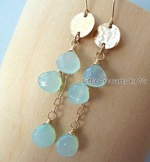 Aqua Chalcedony Dangle Earrings Gold Domed Disc Drop Chandelier Etsy Jewelry