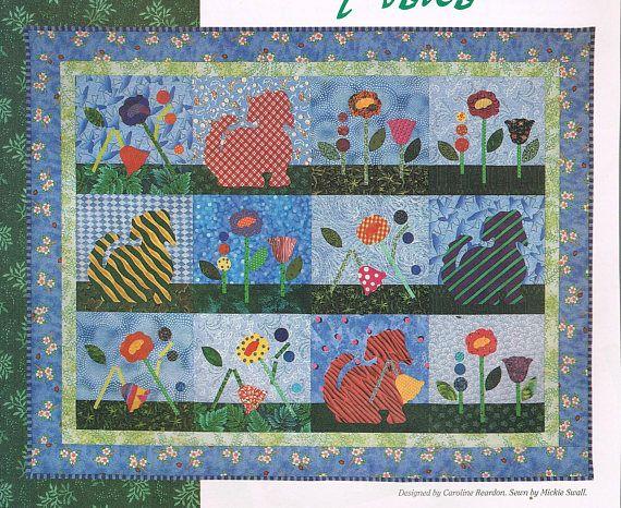 Dog garden block quilt sewing pattern flower quilt pattern