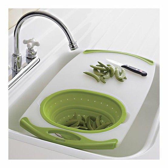 Over-the-sink cutting board and strainer from Crat