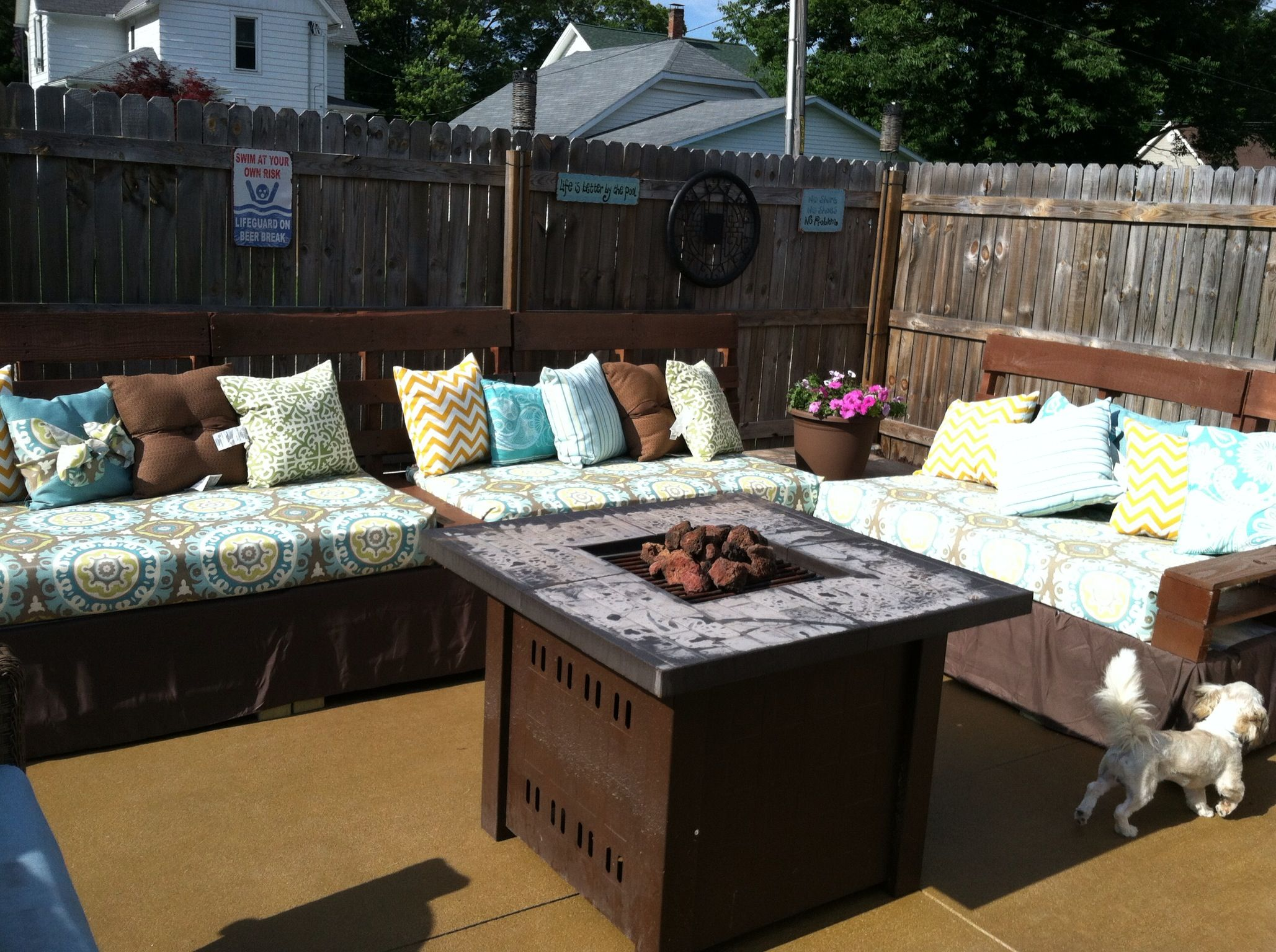 Our Pallet Sectional With Arm Rest And An End Table On The Side. We Used. Patio  PillowsSeat ...