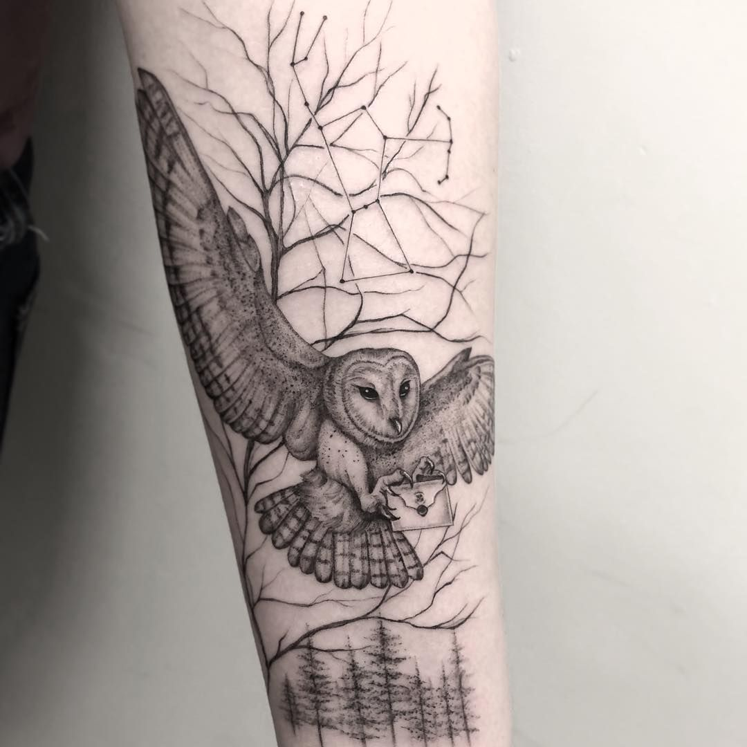 Her Letter Is On The Way Harry Potter Themed Tattoo With Owl Owl Tattoo Design Owl Tattoo Chest Owl Tattoo Sleeve