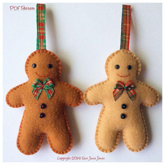 Felt Gingerbread Man Pdf Sewing Pattern Instant Download Easy