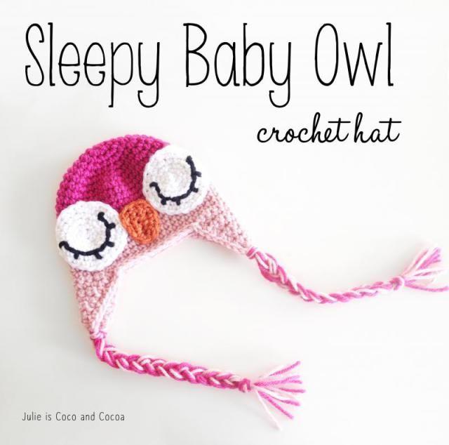 Pink Sleeping Baby Owl Crochet Hat | Knit and Crochet | Pinterest